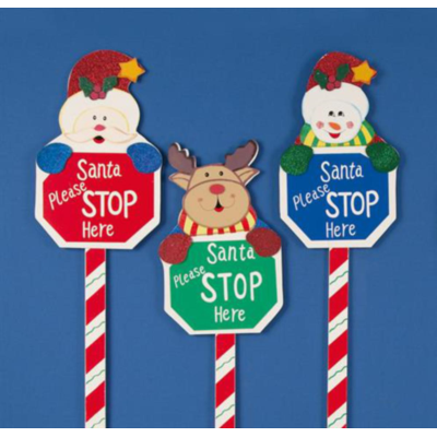 Santa Please Stop Here Garden Sign