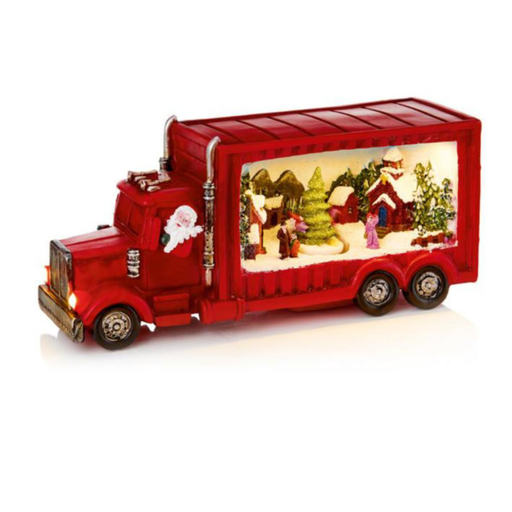 Red Truck with Rotating Christmas Tree Scene