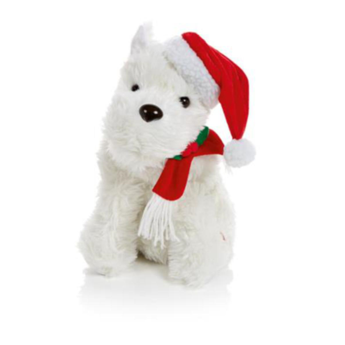 Animated White Terrier Dreaming of a White Xmas