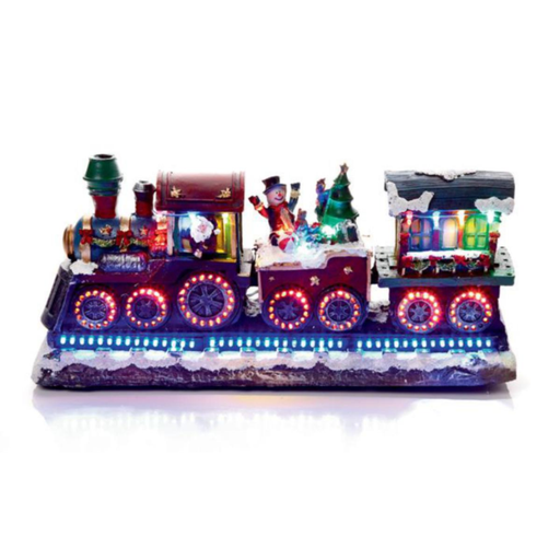 Christmas Train w-Rotating LED Wheels