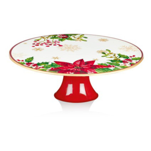 Poinsettia Footed Cake Stand