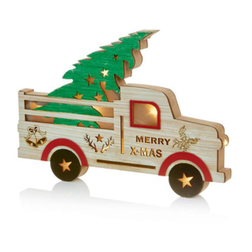 Wooden Truck Decoration with Xmas Tree