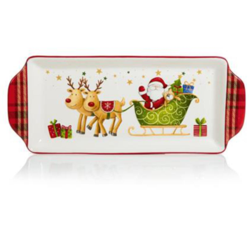 Oblong Serving Plate Plaid Santa Snowman