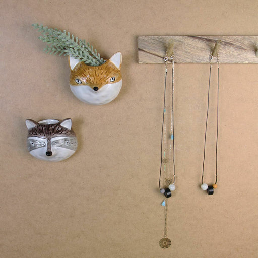 Gisela Graham Ceramic Orn Fox Mini Wall Hanging