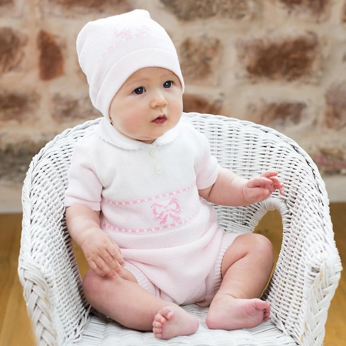 Emile et Rose Sally Pink Knitted Romper & Hat