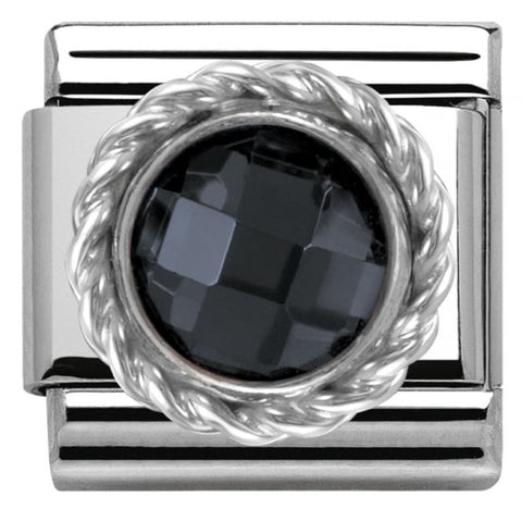 Nomination Classic Charm - Black Round Faceted Stone