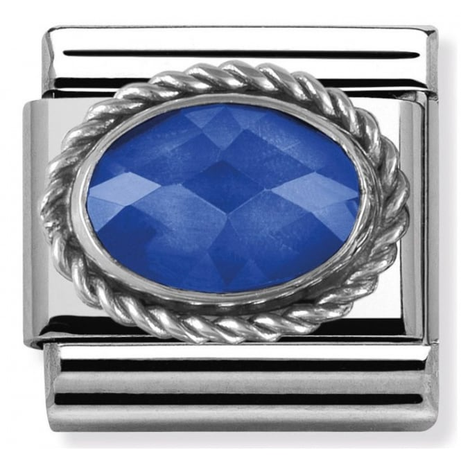 Nomination Classic Charm - Blue Oval Faceted Stone