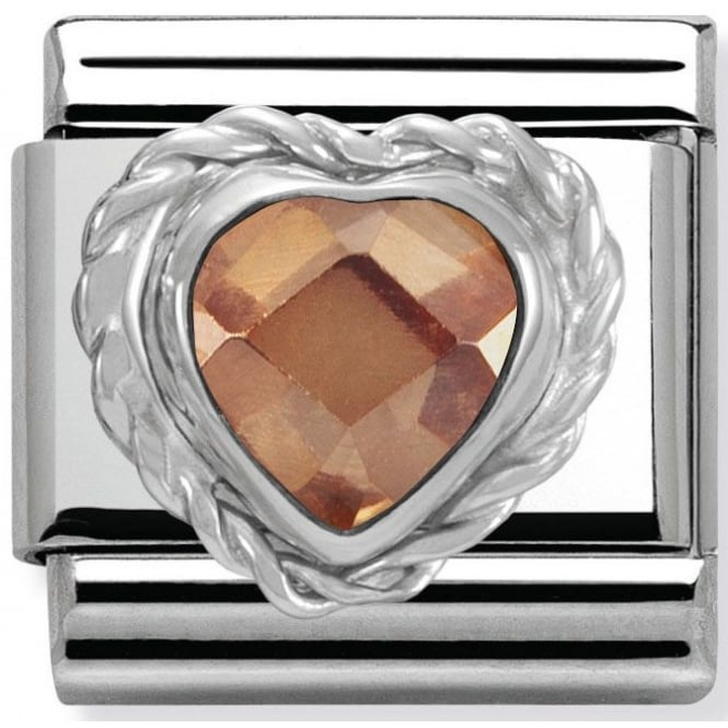 Nomination Classic Charm - Champagne faceted heart stone