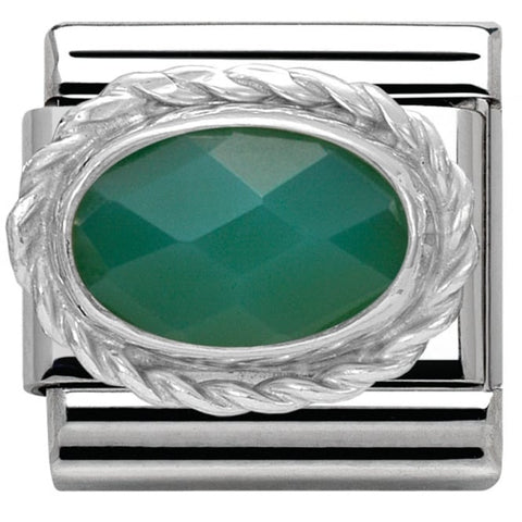 Nomination Classic Charm - Green Agate Faceted Stone