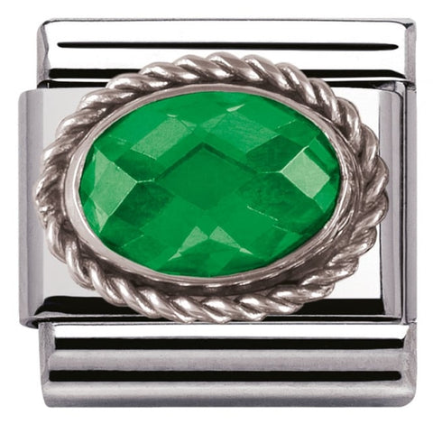 Nomination Classic Charm - Green Oval Stone