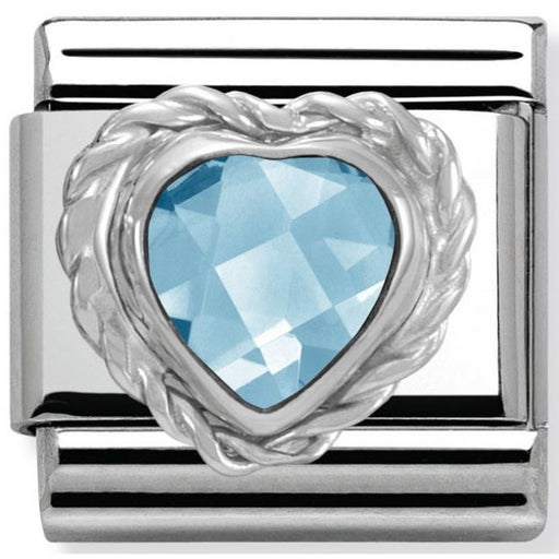 Nomination Classic Charm - Light Blue Faceted Heart Stone
