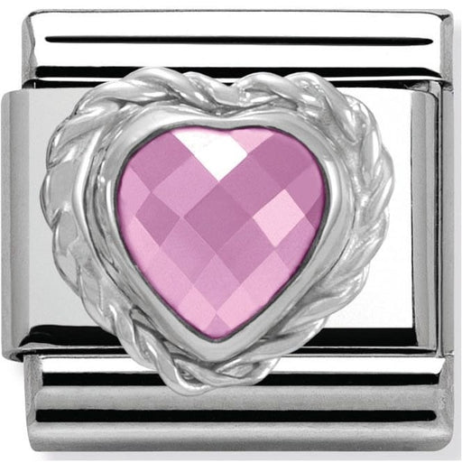 Nomination Classic Charm - Pink Faceted Heart Stone