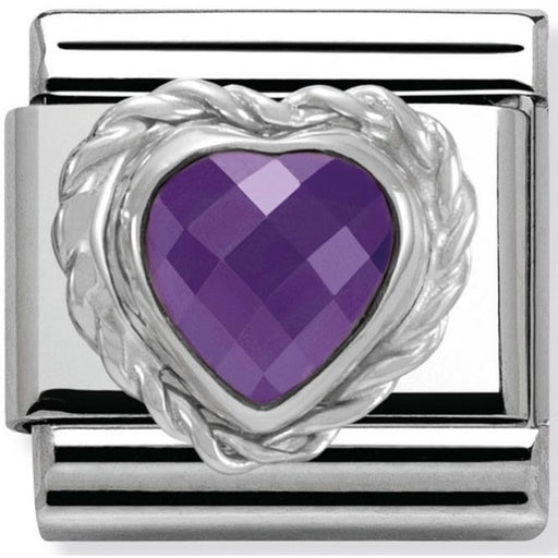 Nomination Classic Charm - Purple Faceted Heart Stone