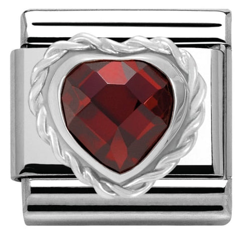 Nomination Classic Charm - Red Faceted Heart Stone