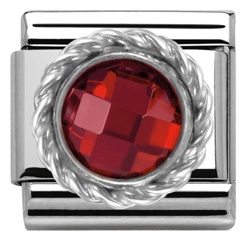 Nomination Classic Charm - Red Round Faceted Stone