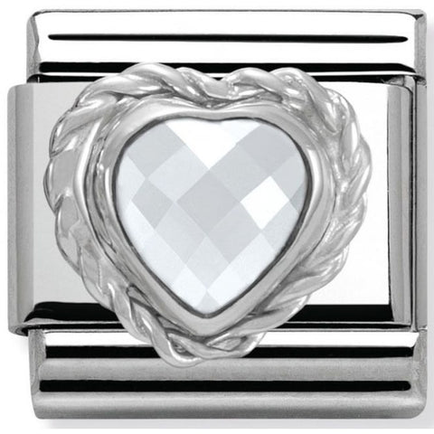 Nomination Classic Charm - White Faceted Heart Stone
