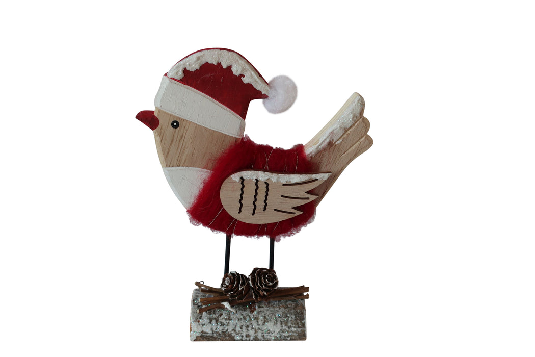 Festive Wooden Table Top Robin with Santa Hat