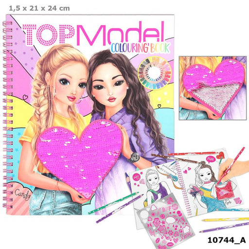 TopModel Colouring Book With Reversible Sequins