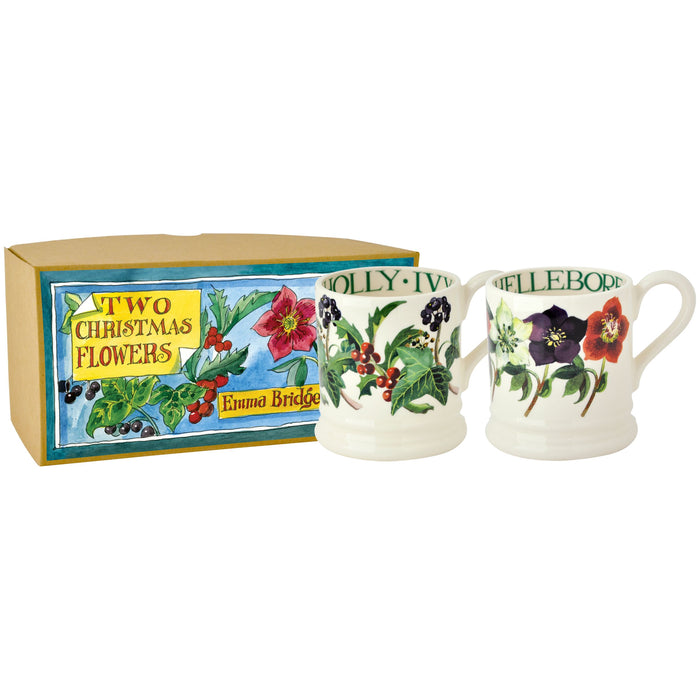 Emma Bridgewater Christmas Flowers Set 2 Half Pint Mugs