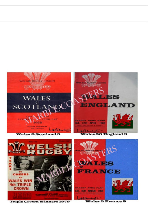 Marble Coaster Set - Welsh Rugby