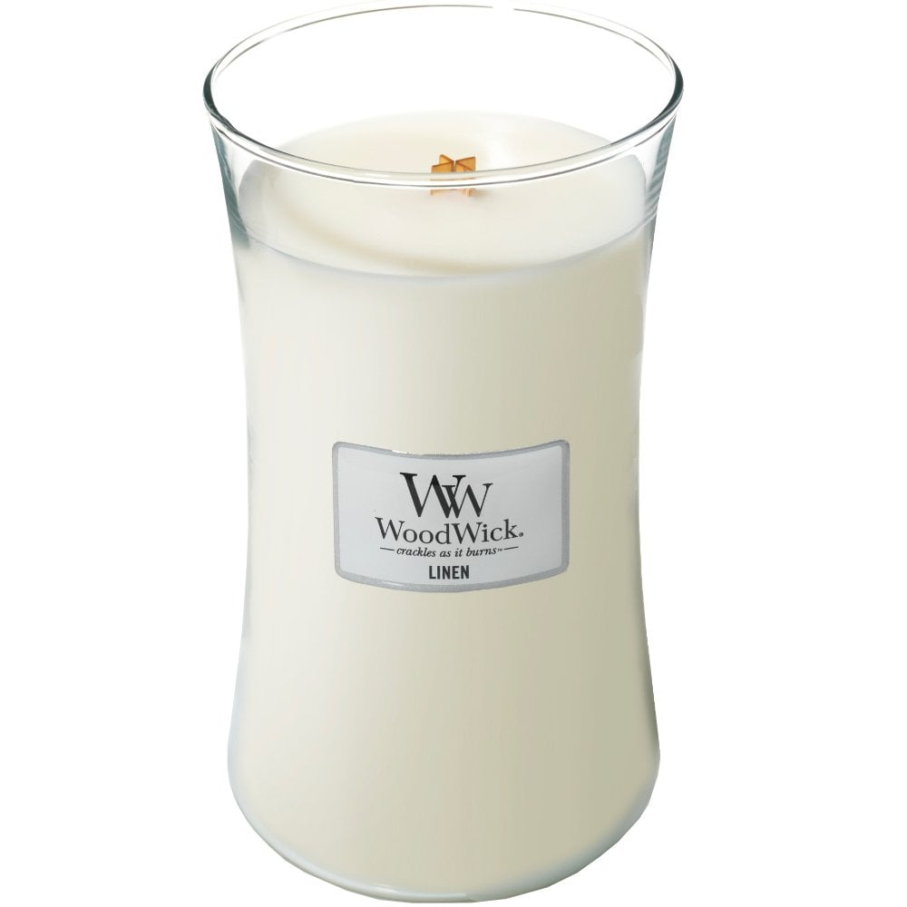 Woodwick Linen Large Hourglass Jar Candle