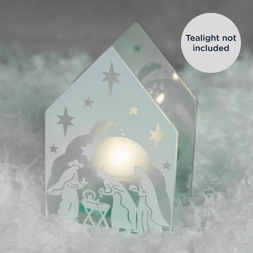 Glitter Nativity Design Single Tealight Holder