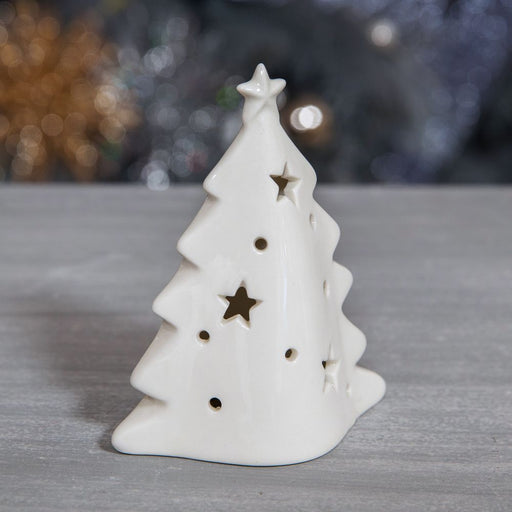 White Ceramic Christmas Tree Tealight Holder