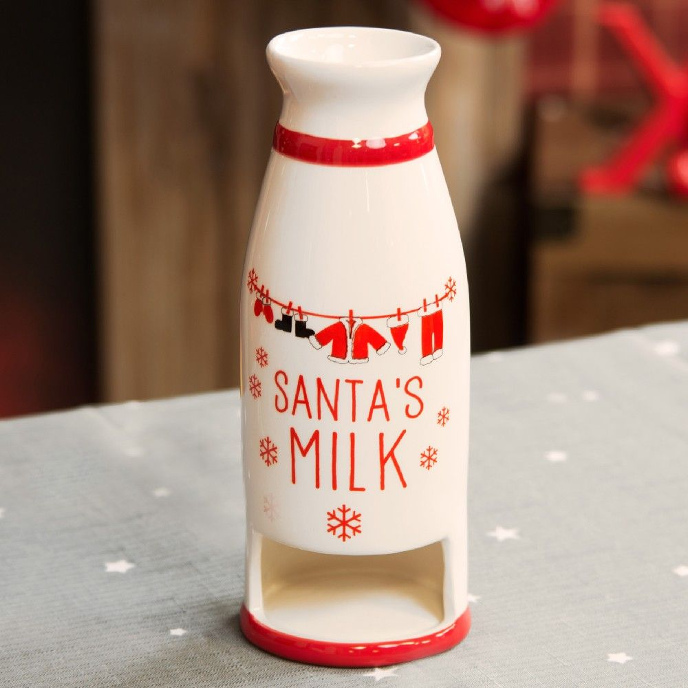 Red & White Milk & Cookie Jar for Santa