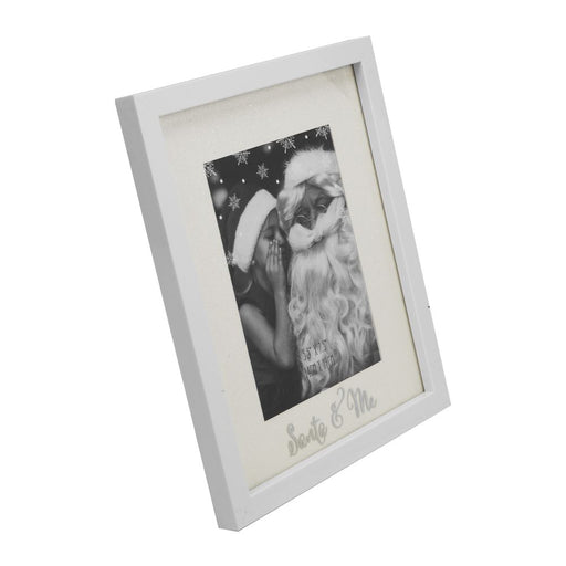 "Glitter Mount White Photo Frame 4"" x 6"" Santa and Me"