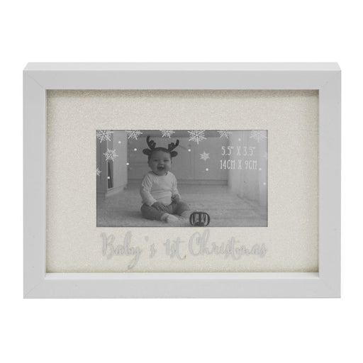 "Glitter Mount Frame 6"" x 4""  ''Baby''s First Christmas''"