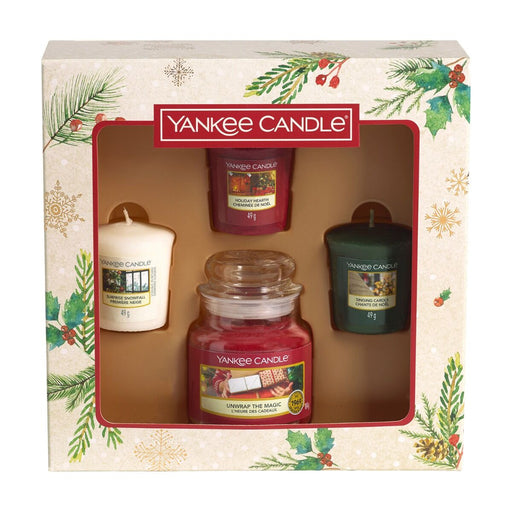 Yankee Candle Magical Christmas Morning Small Jar and Three Votive Candles Gift Set