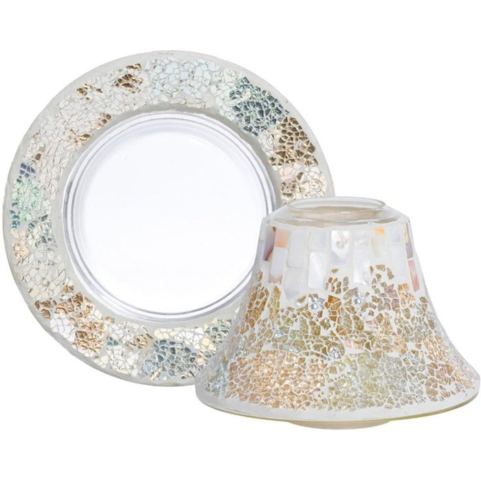 Yankee Candle Gold and Pearl Crackle Large Shade and Tray