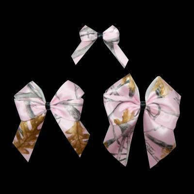 True Timber® Snowfall Pink Satin Bows w/ Black Center