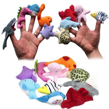 10pcs/ Set Cute Sea Animals Plush Hand Finger Puppets Toys Birthday Christmas Gifts for Children Kids  BM88