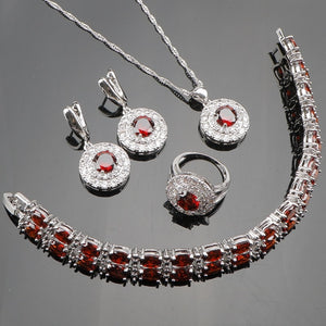 925 Sterling Silver Wedding Red CZ White Tiny Austrian Crystal Jewelry Sets For Women Bracelets/Earrings/Pendant/Necklace/Ring
