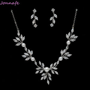 Jonnafe Silver Simple Wedding Necklace with Earrings Zirconia Bridal Jewelry Sets Women Party Prom Jewelry Accessories