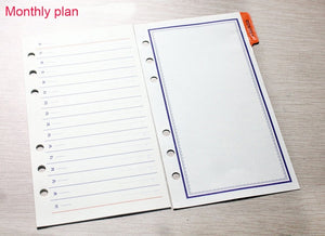 A5 A6 A7 Business agenda organizer paper,  time management schedule loose leaf refills, Monthly Weekly Today Notebook Paper