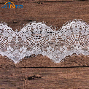 9cm Wide 6M White Mesh Lace Fabric Lace Trim Eyelash Lace Embroidered Lace Ribbon Sewing Accessories