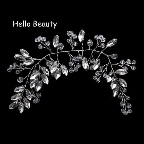 Crystal Beads Pageant Headpieces Floral Bridal Hair Jewelry Rhinestone Prom Headdress Bridesmaid Girls Wedding Hair Accessories
