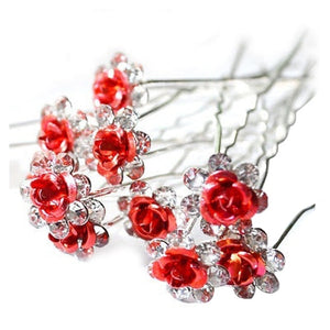 10pcs/lot Rose Flower Crystal Rhinestone Wedding Party Bridal Prom Hair Pin Hair Clips Accessory Red