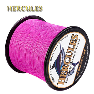 Hercules Fishing Line Pesca 4 Strands Braided Line For Carp Fishing PE Vissen Cord 100M 300M 500M 1000M 1500M 2000M Pink Wire