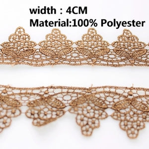 4cm Wide Polyester Lace Trim/Water Soluble Lace Embroidered Dress Accessory DIY Handmade Brown Lace Fabric dog's clothes lace