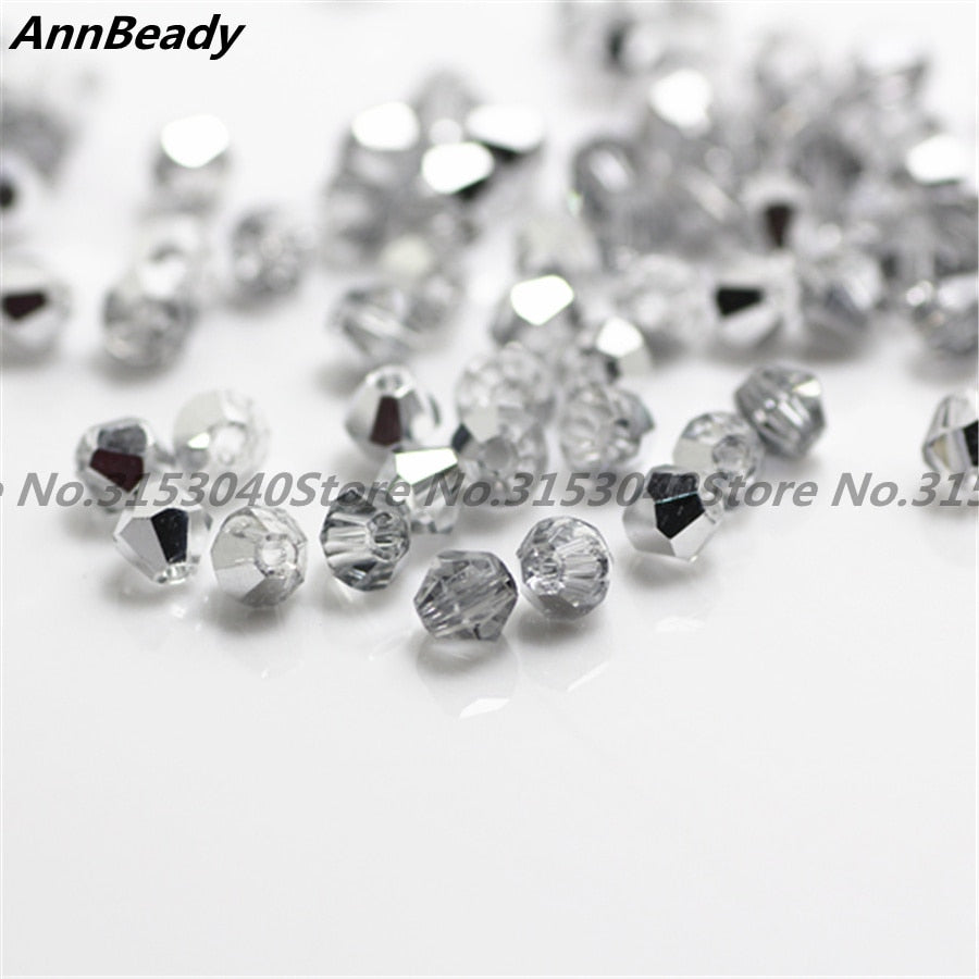 4MM 100pcs Loose Glass Crystal Bicone  AB Spacer Beads For Jewelry Making DIY