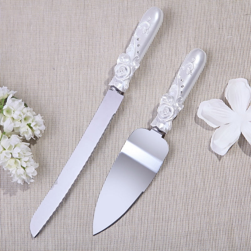 Personalized Fashion wedding cake knife  Rose with rhinstone Design Cake Knife Server Set DC1017