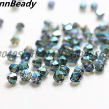 100pcs Plated Blue Color 4mm Bicone Crystal Beads Glass Beads Loose Spacer Beads DIY Jewelry Making Austria Crystal Beads