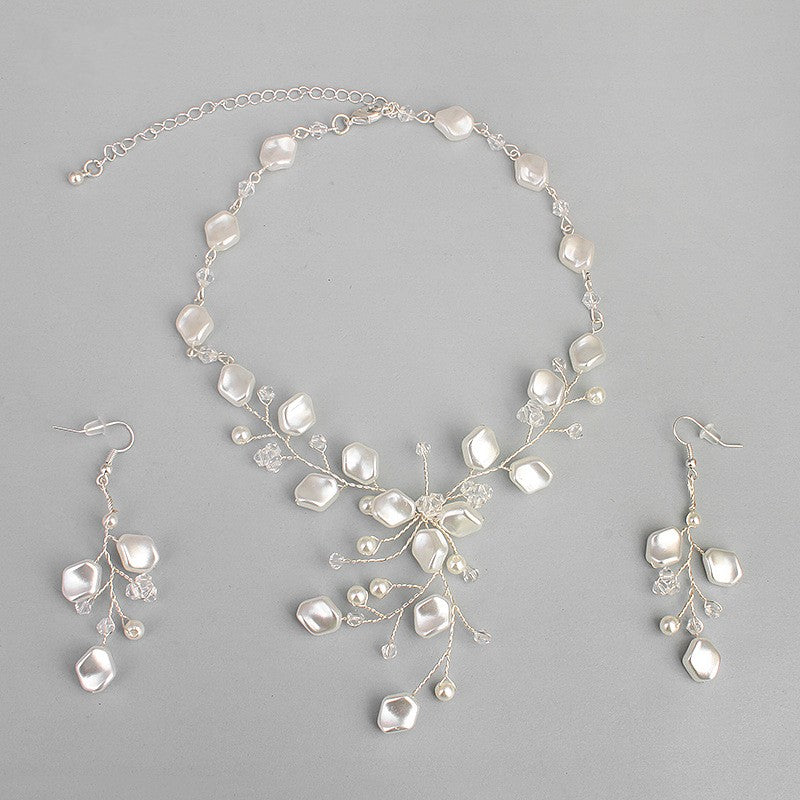 Dower me Elegant Bridal Pearls Necklace Earrings Set Handmade Wedding Prom Accessories Women Jewelry Sets