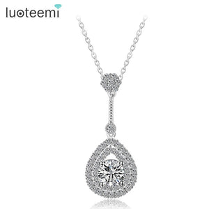 LUOTEEMI Wholesale White Gold-Color Teardrop CZ Pedant Necklace Sexy Lady Wedding Party Jewelry Summer Fashion New