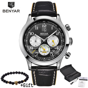 Benyar Watches Men Luxury Brand Multifunction Quartz Mens Sport Wristwatch Dive 30m Casual Leather Watch Relogio Masculino