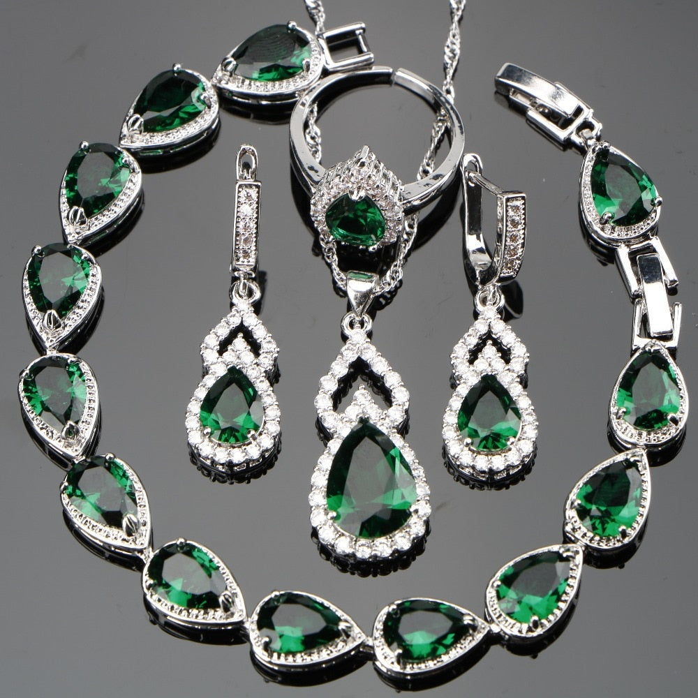 Wedding Green Stones White CZ Silver 925 Women Bridal Jewelry Sets Adjustable Size Rings Earrings Necklace Set Free Gfit Box