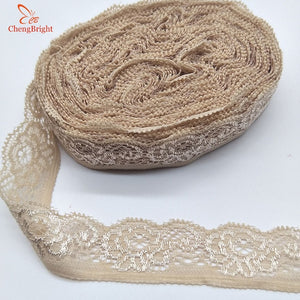ChengBright 10 Yards High Quality Stretch Elastic Lace Ribbon Lace Trim Fabric Embroidered Lace Trimmings for Sewing Lace Fabric